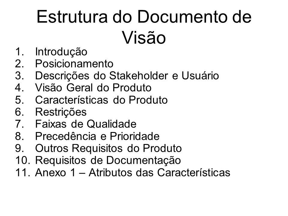 Estrutura do Documento de Visão 1.Introdução 2.Posicionamento 3.Descrições do Stakeholder e Usuário 4.Visão Geral do Produto 5.Características do Prod