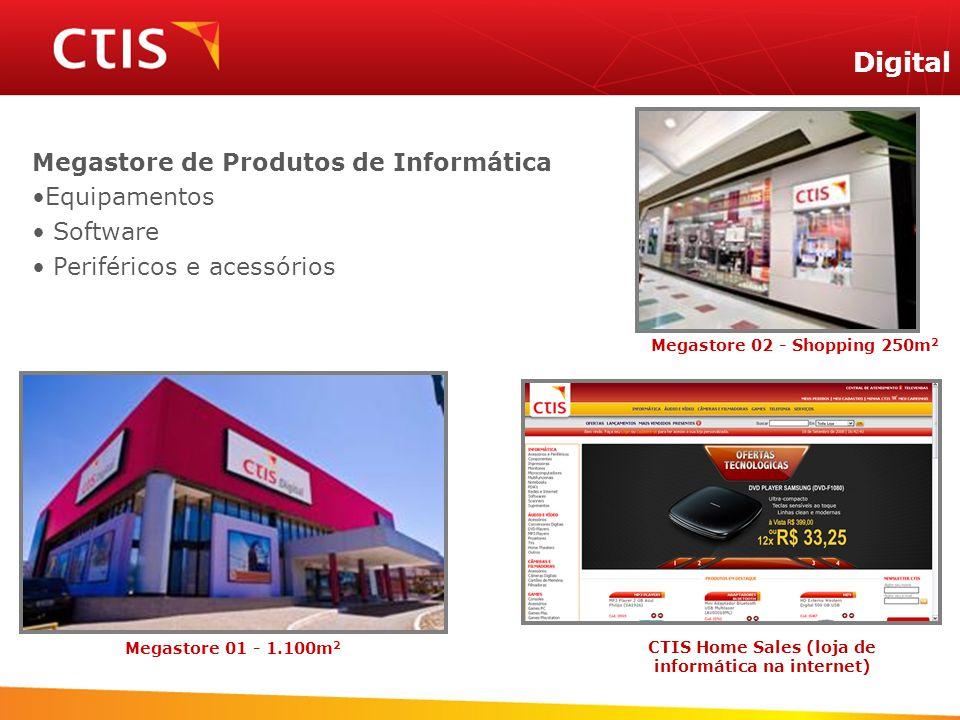 Megastore de Produtos de Informática Equipamentos Software Periféricos e acessórios Digital Megastore 02 - Shopping 250m 2 Megastore 01 - 1.100m 2 CTI