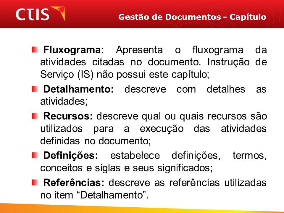 Gestão de Documentos - Capítulo Fluxograma: Apresenta o fluxograma da atividades citadas no documento.