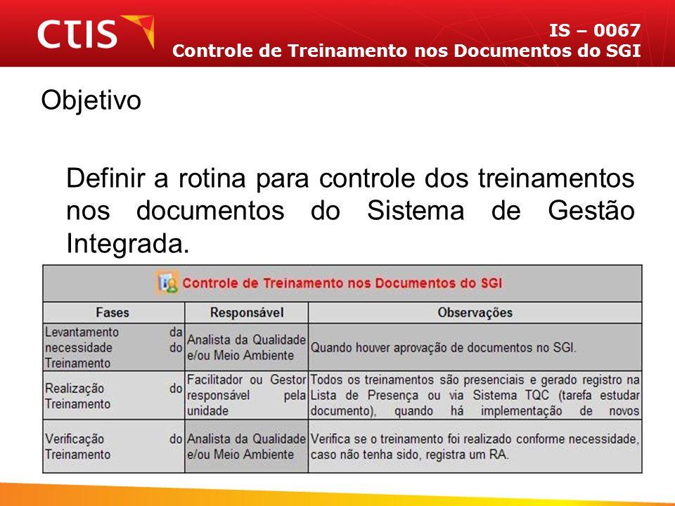 IS – 0067 Controle de Treinamento nos Documentos do SGI Objetivo Definir a rotina para controle dos treinamentos nos documentos do Sistema de Gestão Integrada.