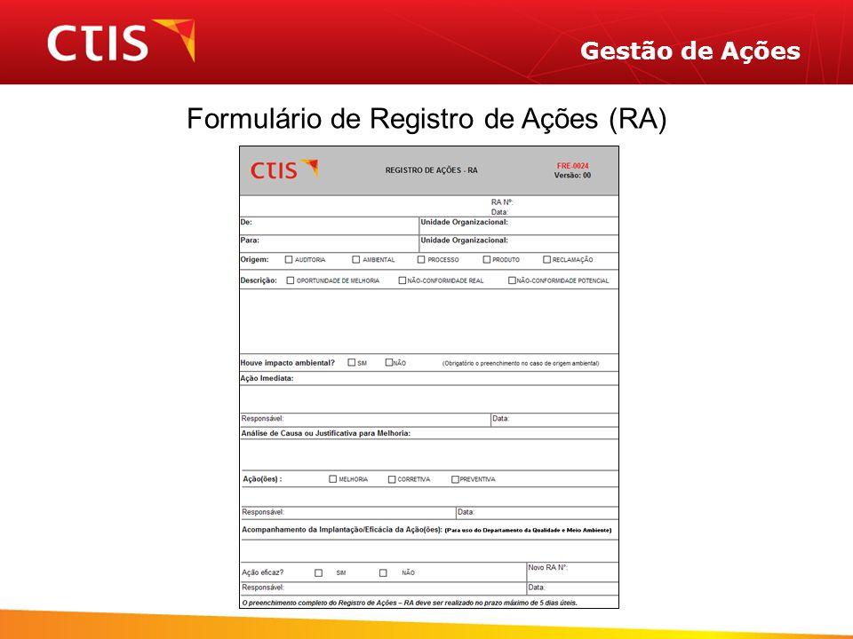 Gestão de Ações Formulário de Registro de Ações (RA)