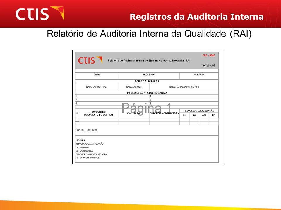 Registros da Auditoria Interna Relatório de Auditoria Interna da Qualidade (RAI)