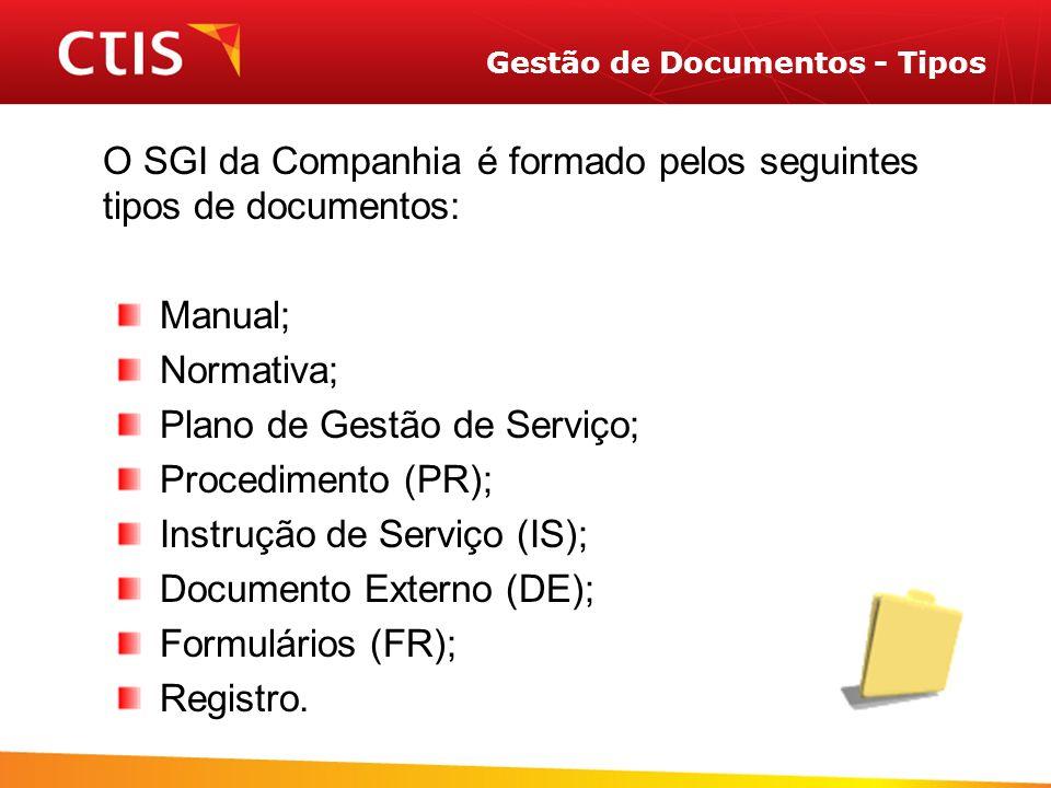 Gestão de Documentos - Tipos O SGI da Companhia é formado pelos seguintes tipos de documentos: Manual; Normativa; Plano de Gestão de Serviço; Procedimento (PR); Instrução de Serviço (IS); Documento Externo (DE); Formulários (FR); Registro.