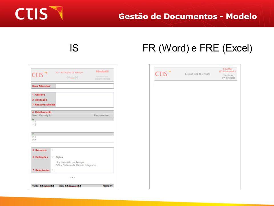 Gestão de Documentos - Modelo ISFR (Word) e FRE (Excel)