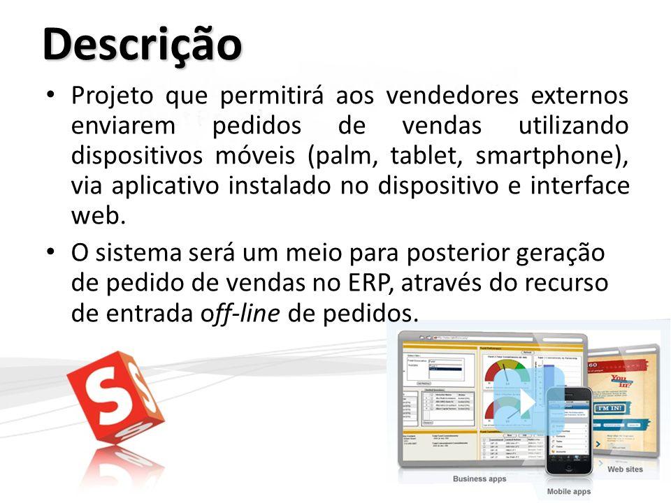 Descrição Projeto que permitirá aos vendedores externos enviarem pedidos de vendas utilizando dispositivos móveis (palm, tablet, smartphone), via apli