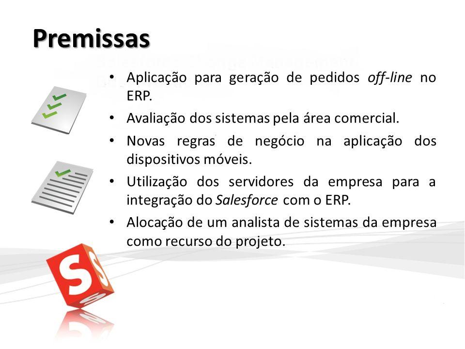 Premissas Aplicação para geração de pedidos off-line no ERP. Avaliação dos sistemas pela área comercial. Novas regras de negócio na aplicação dos disp