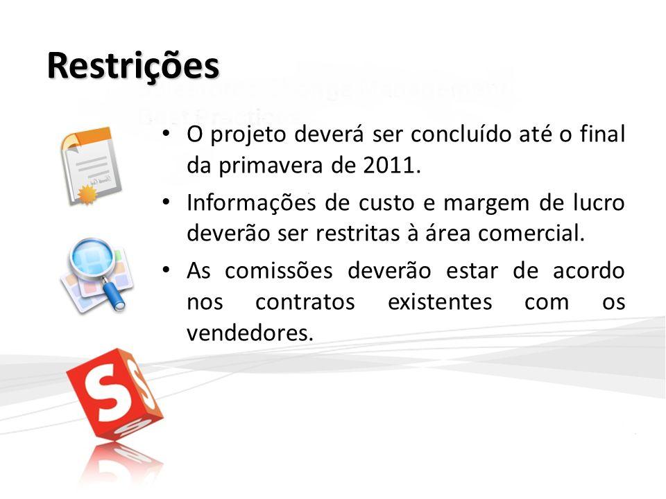 Restrições O projeto deverá ser concluído até o final da primavera de 2011. Informações de custo e margem de lucro deverão ser restritas à área comerc