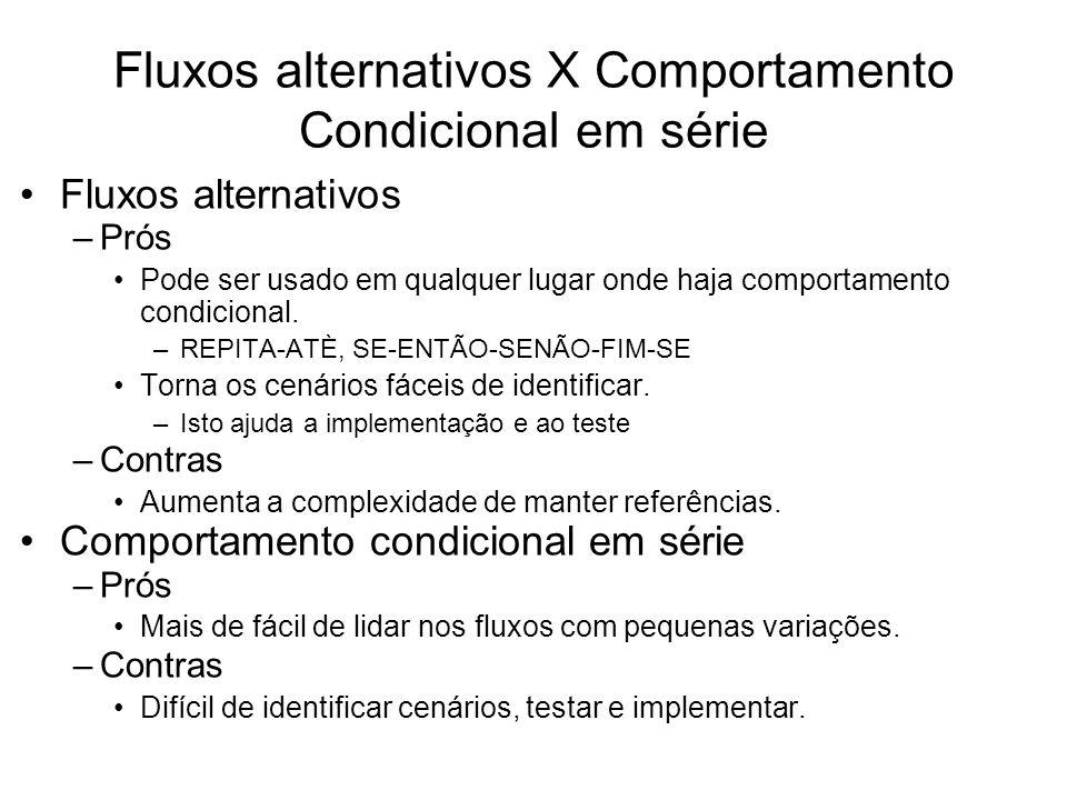 Fluxos alternativos X Comportamento Condicional em série Fluxos alternativos –Prós Pode ser usado em qualquer lugar onde haja comportamento condiciona