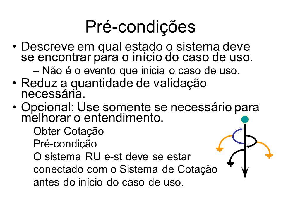 Pré-condições Descreve em qual estado o sistema deve se encontrar para o início do caso de uso. – Não é o evento que inicia o caso de uso. Reduz a qua