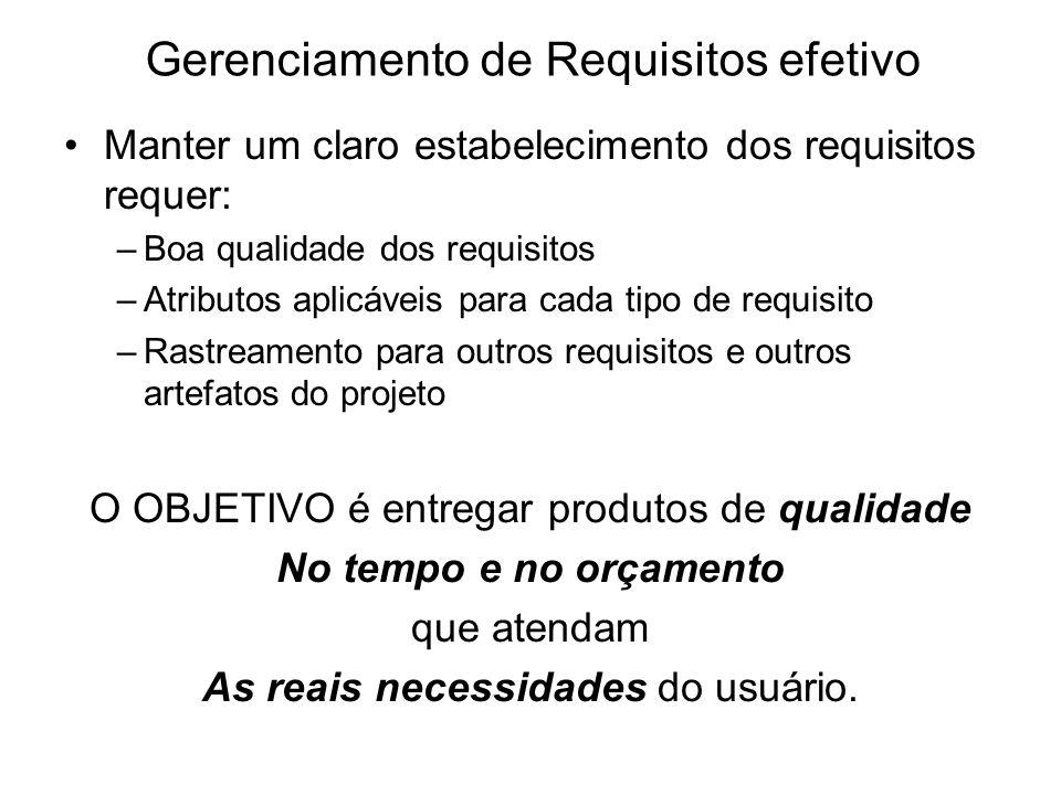 Gerenciamento de Requisitos efetivo Manter um claro estabelecimento dos requisitos requer: –Boa qualidade dos requisitos –Atributos aplicáveis para ca
