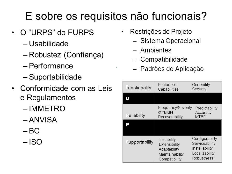 E sobre os requisitos não funcionais? O URPS do FURPS –Usabilidade –Robustez (Confiança) –Performance –Suportabilidade Conformidade com as Leis e Regu