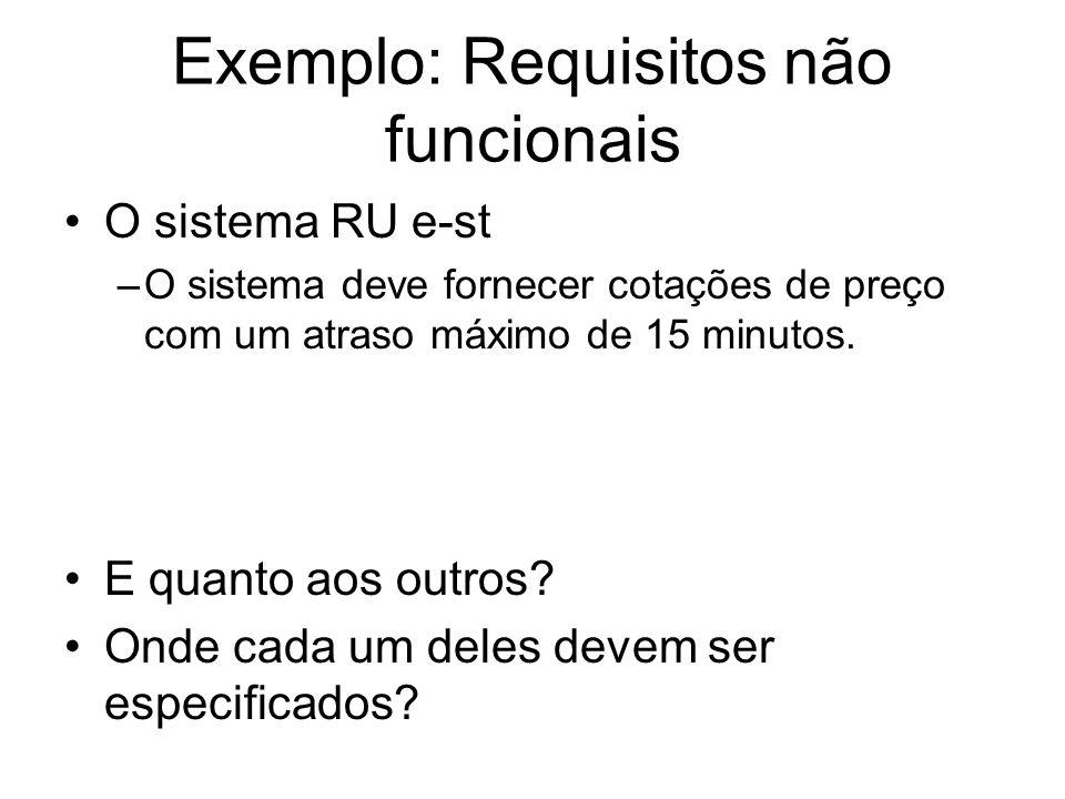 Exemplo: Requisitos não funcionais O sistema RU e-st –O sistema deve fornecer cotações de preço com um atraso máximo de 15 minutos. E quanto aos outro