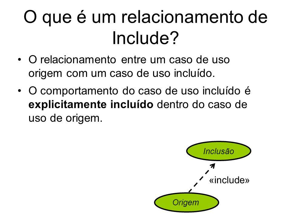 O que é um relacionamento de Include? O relacionamento entre um caso de uso origem com um caso de uso incluído. O comportamento do caso de uso incluíd