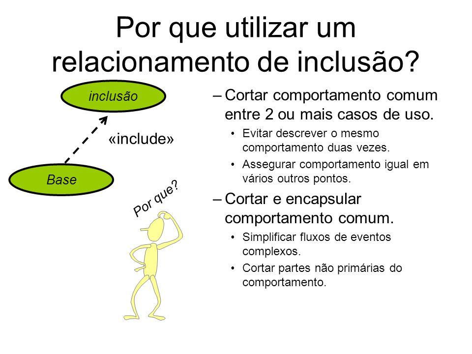 Por que utilizar um relacionamento de inclusão? –Cortar comportamento comum entre 2 ou mais casos de uso. Evitar descrever o mesmo comportamento duas