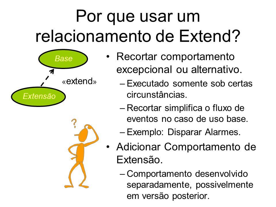 Por que usar um relacionamento de Extend? Recortar comportamento excepcional ou alternativo. –Executado somente sob certas circunstâncias. –Recortar s