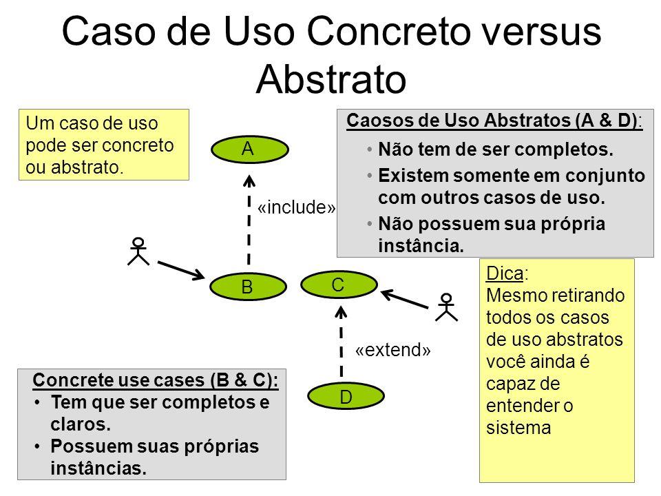 Caso de Uso Concreto versus Abstrato Caosos de Uso Abstratos (A & D): Não tem de ser completos. Existem somente em conjunto com outros casos de uso. N