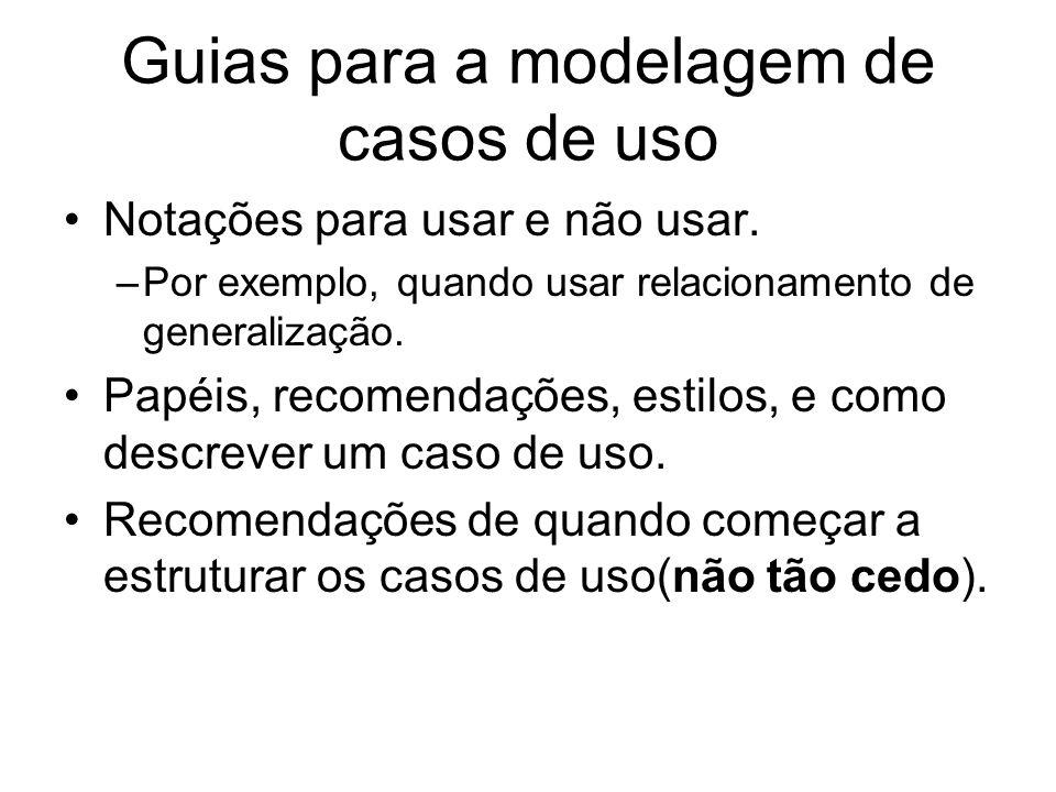 Guias para a modelagem de casos de uso Notações para usar e não usar. –Por exemplo, quando usar relacionamento de generalização. Papéis, recomendações