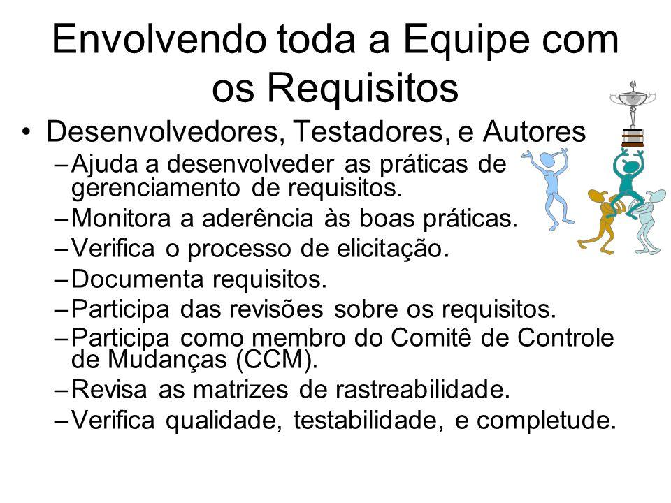 Envolvendo toda a Equipe com os Requisitos Desenvolvedores, Testadores, e Autores –Ajuda a desenvolveder as práticas de gerenciamento de requisitos. –