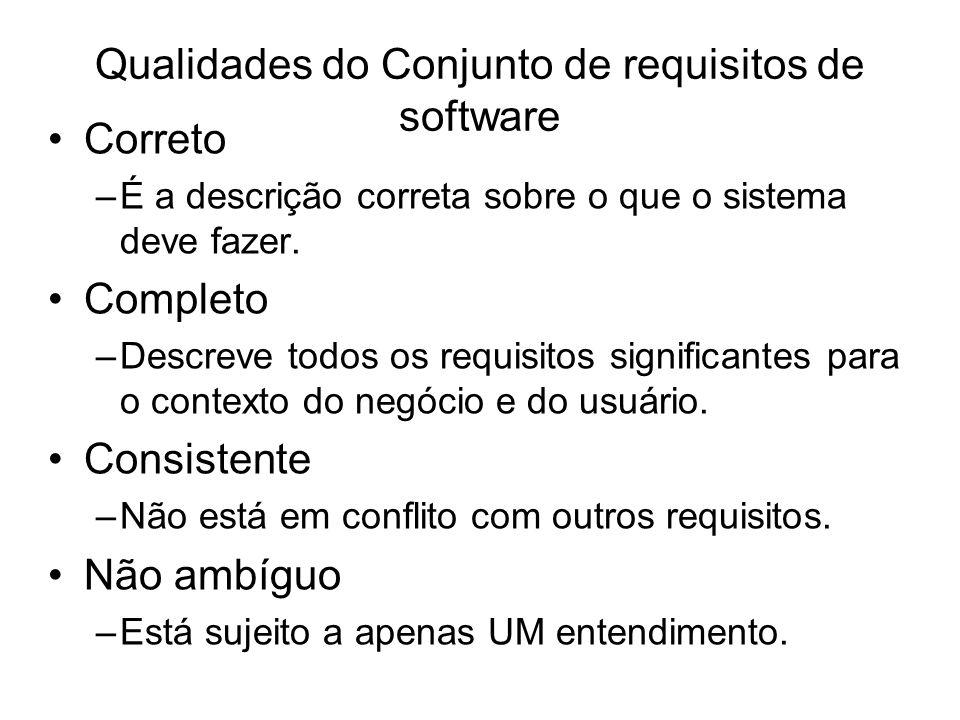 Qualidades do Conjunto de requisitos de software Correto –É a descrição correta sobre o que o sistema deve fazer. Completo –Descreve todos os requisit