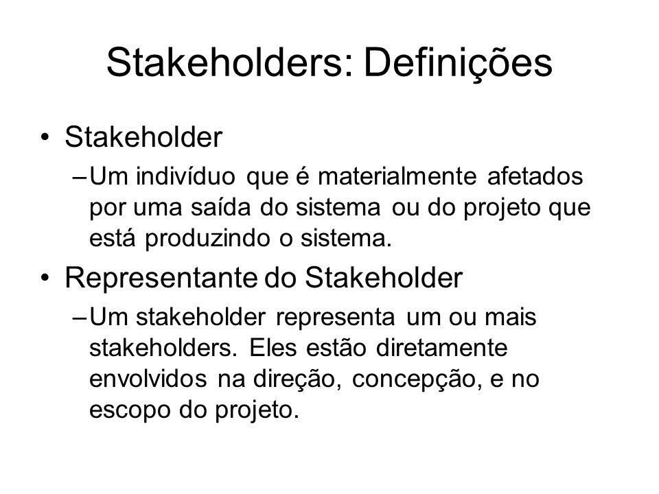 Stakeholders: Definições Stakeholder –Um indivíduo que é materialmente afetados por uma saída do sistema ou do projeto que está produzindo o sistema.
