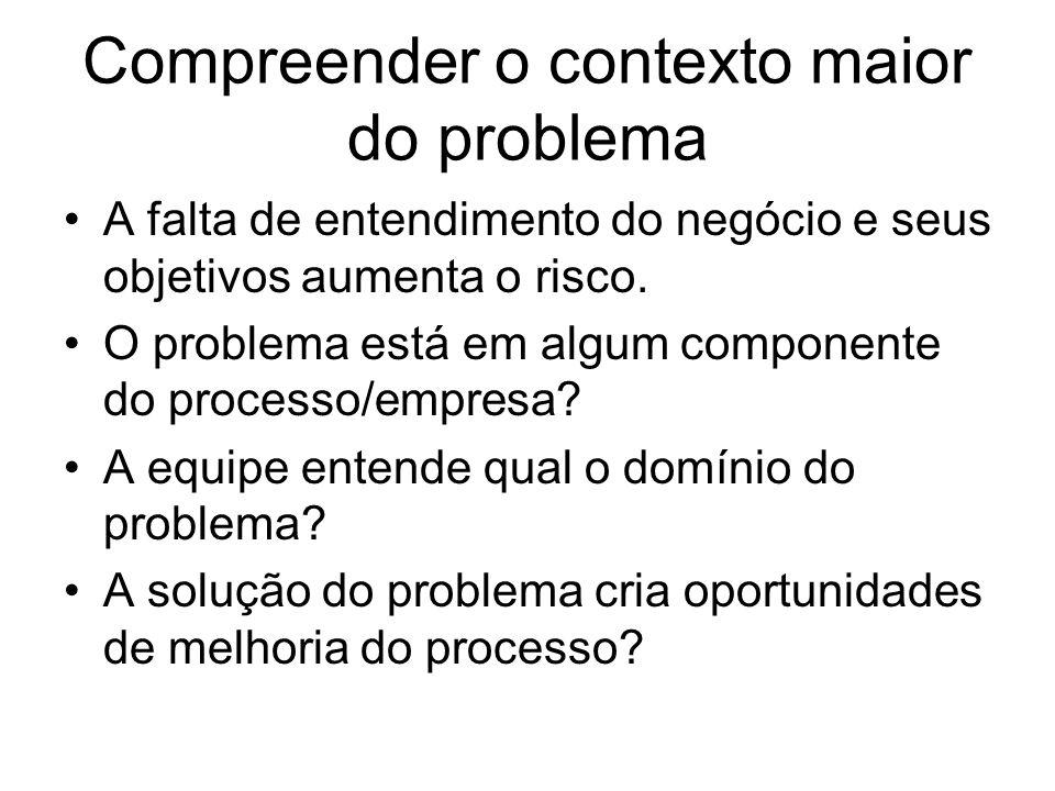 Compreender o contexto maior do problema A falta de entendimento do negócio e seus objetivos aumenta o risco. O problema está em algum componente do p