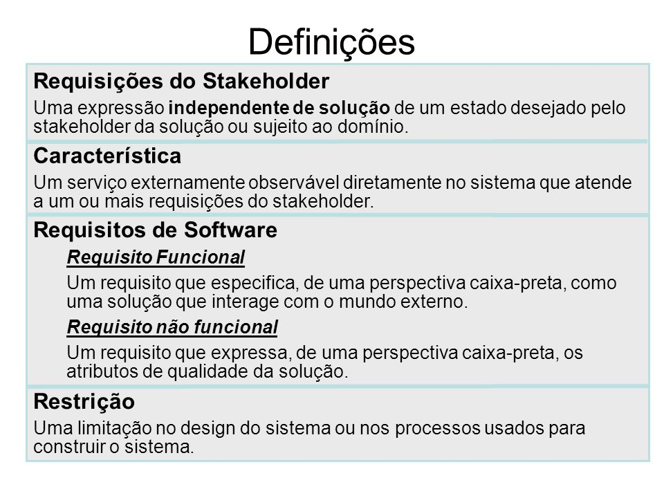 Definições Requisições do Stakeholder Uma expressão independente de solução de um estado desejado pelo stakeholder da solução ou sujeito ao domínio. R