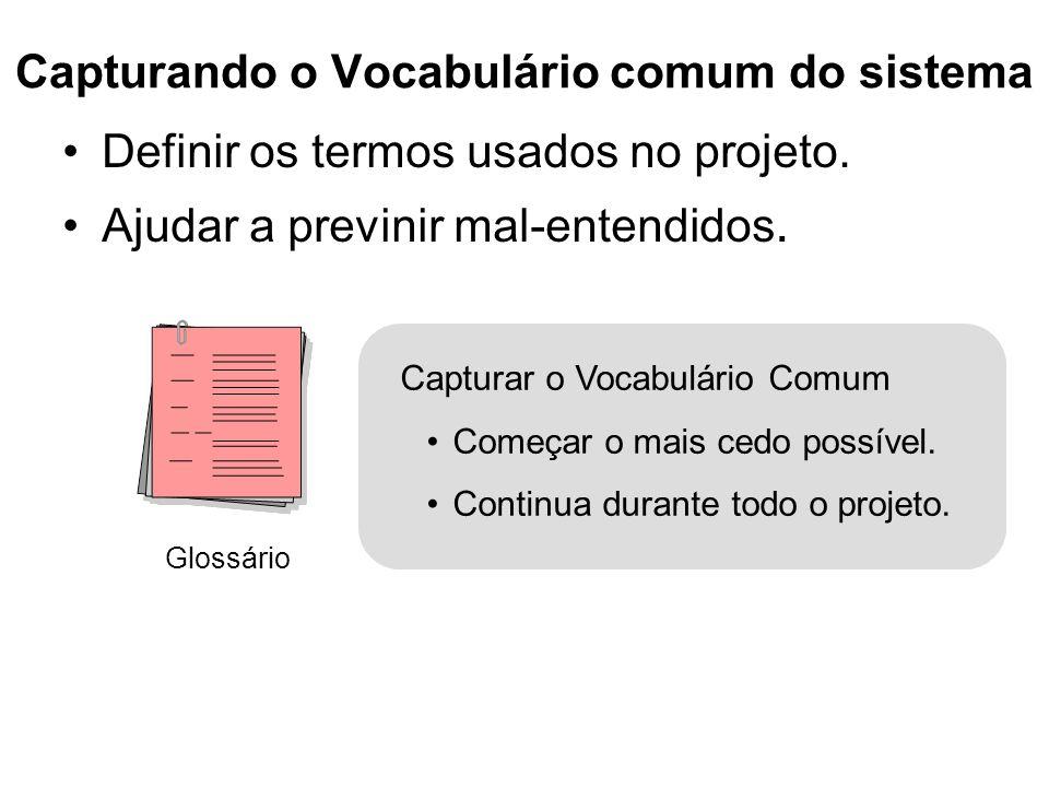 Capturando o Vocabulário comum do sistema Definir os termos usados no projeto. Ajudar a previnir mal-entendidos. Glossário Capturar o Vocabulário Comu