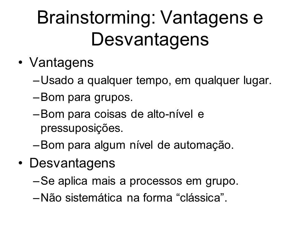 Brainstorming: Vantagens e Desvantagens Vantagens –Usado a qualquer tempo, em qualquer lugar. –Bom para grupos. –Bom para coisas de alto-nível e press