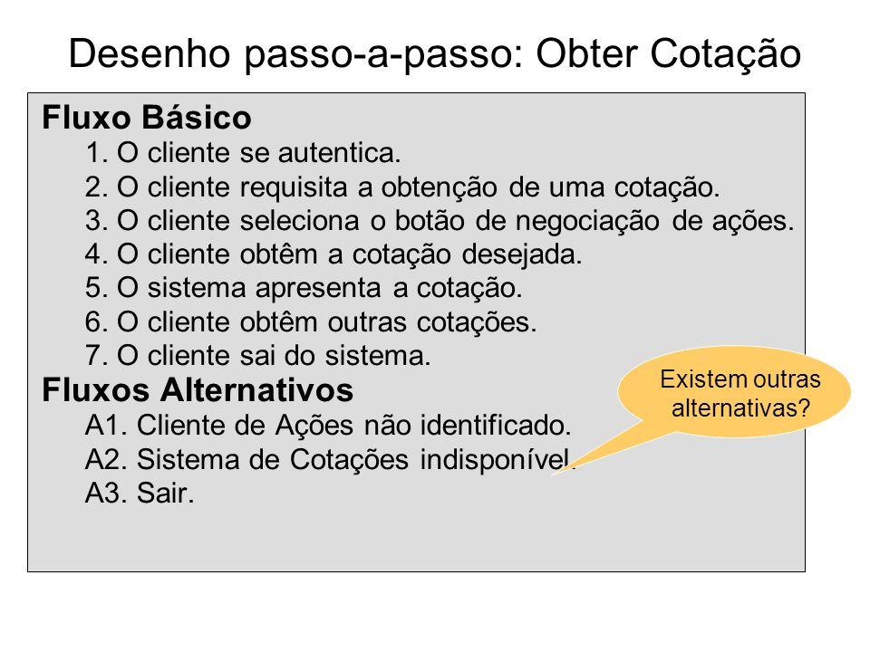 Desenho passo-a-passo: Obter Cotação Fluxo Básico 1. O cliente se autentica. 2. O cliente requisita a obtenção de uma cotação. 3. O cliente seleciona