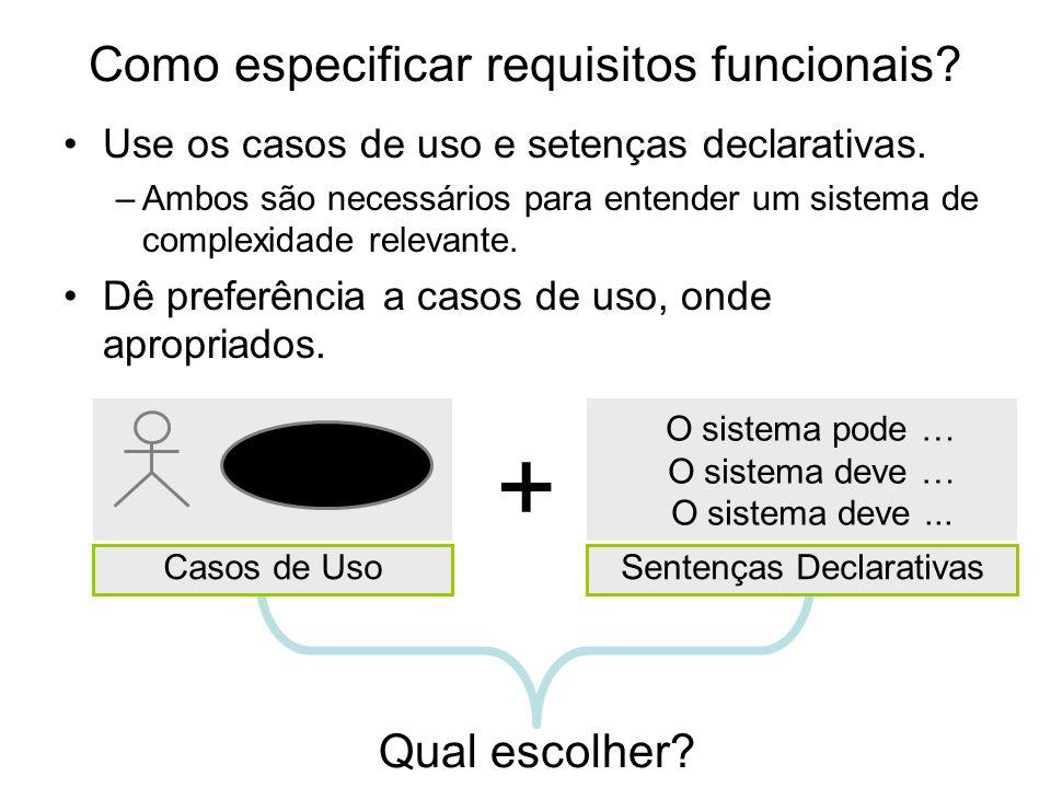O sistema pode … O sistema deve … O sistema deve... Qual escolher? Como especificar requisitos funcionais? Use os casos de uso e setenças declarativas