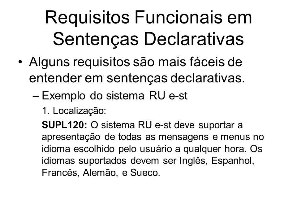 Requisitos Funcionais em Sentenças Declarativas Alguns requisitos são mais fáceis de entender em sentenças declarativas. –Exemplo do sistema RU e-st 1