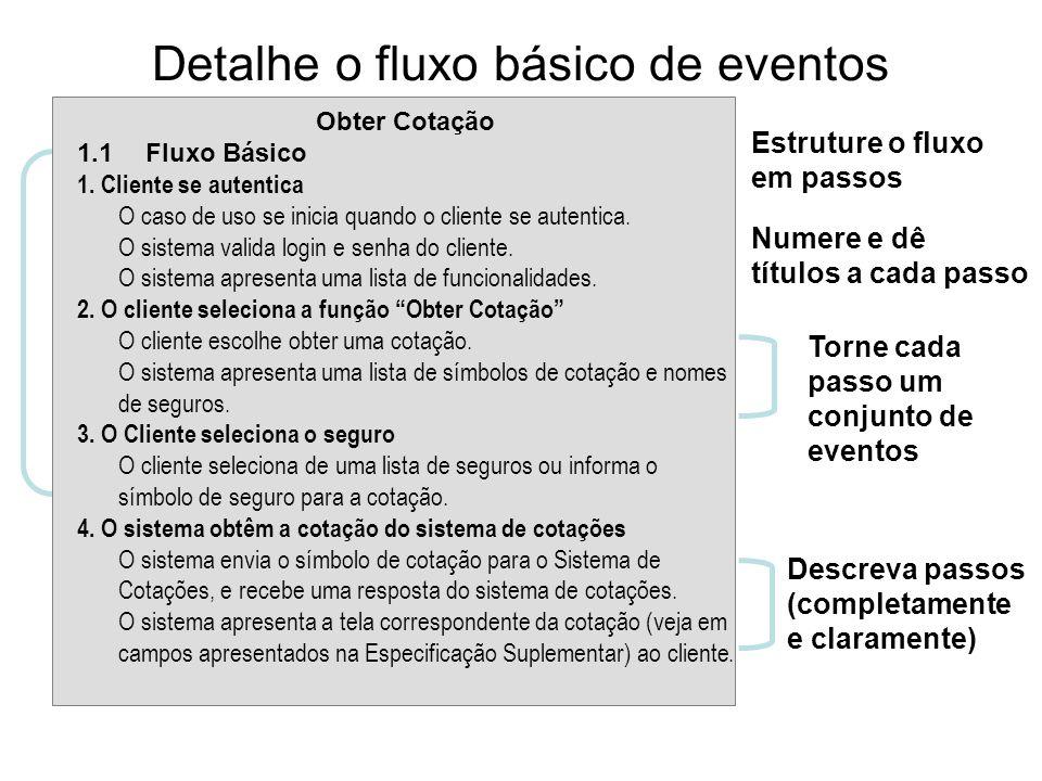 Detalhe o fluxo básico de eventos Estruture o fluxo em passos Numere e dê títulos a cada passo Descreva passos (completamente e claramente) Torne cada