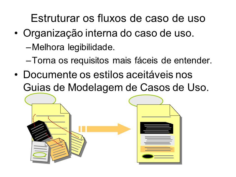 Estruturar os fluxos de caso de uso Organização interna do caso de uso. –Melhora legibilidade. –Torna os requisitos mais fáceis de entender. Documente