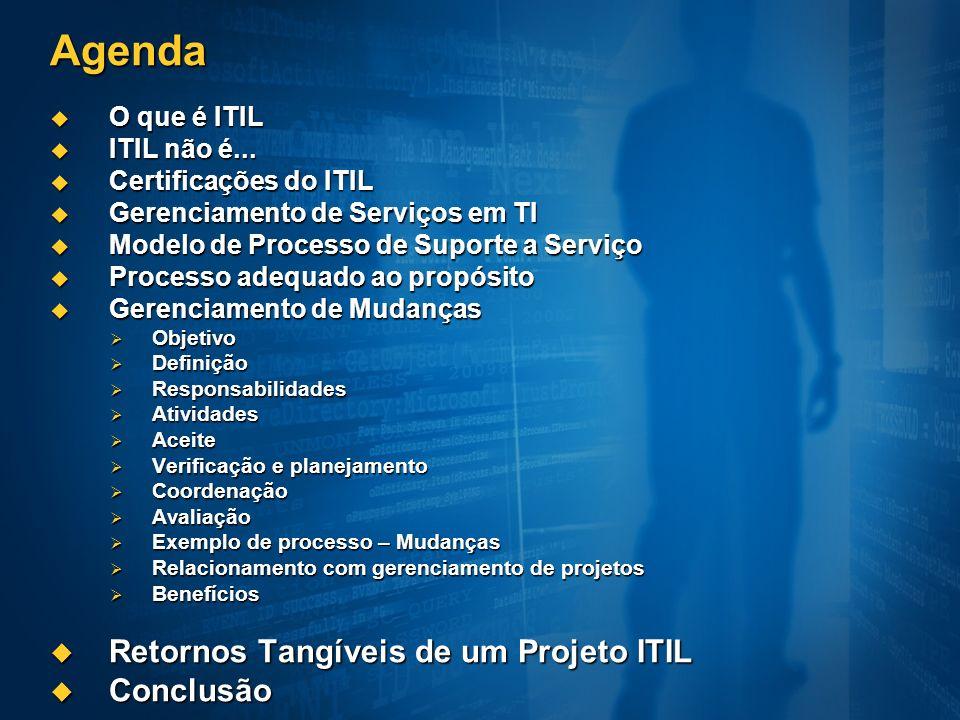 Agenda O que é ITIL O que é ITIL ITIL não é... ITIL não é... Certificações do ITIL Certificações do ITIL Gerenciamento de Serviços em TI Gerenciamento