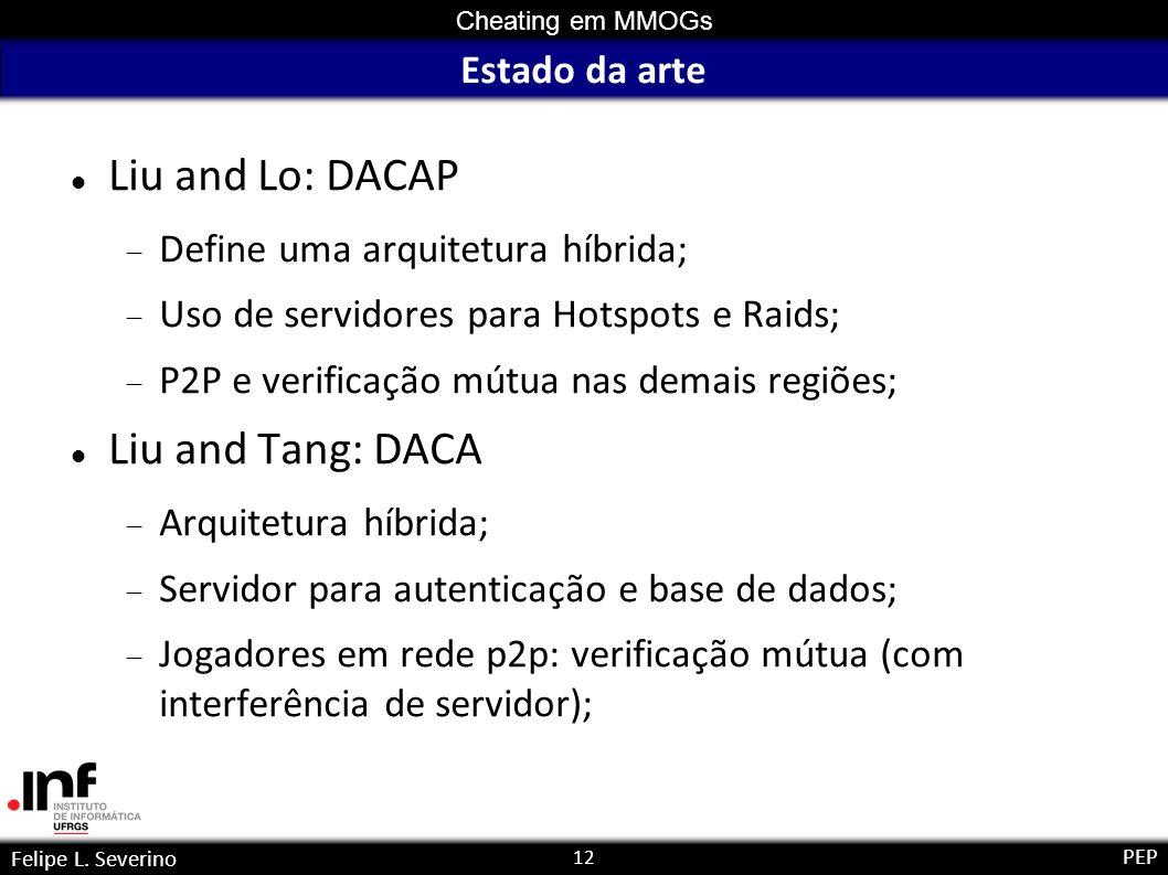 12 Cheating em MMOGs Felipe L. Severino PEP Estado da arte Liu and Lo: DACAP Define uma arquitetura híbrida; Uso de servidores para Hotspots e Raids;