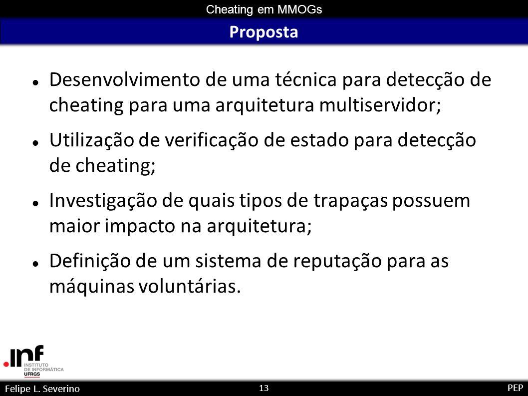 13 Cheating em MMOGs Felipe L. Severino PEP Proposta Desenvolvimento de uma técnica para detecção de cheating para uma arquitetura multiservidor; Util