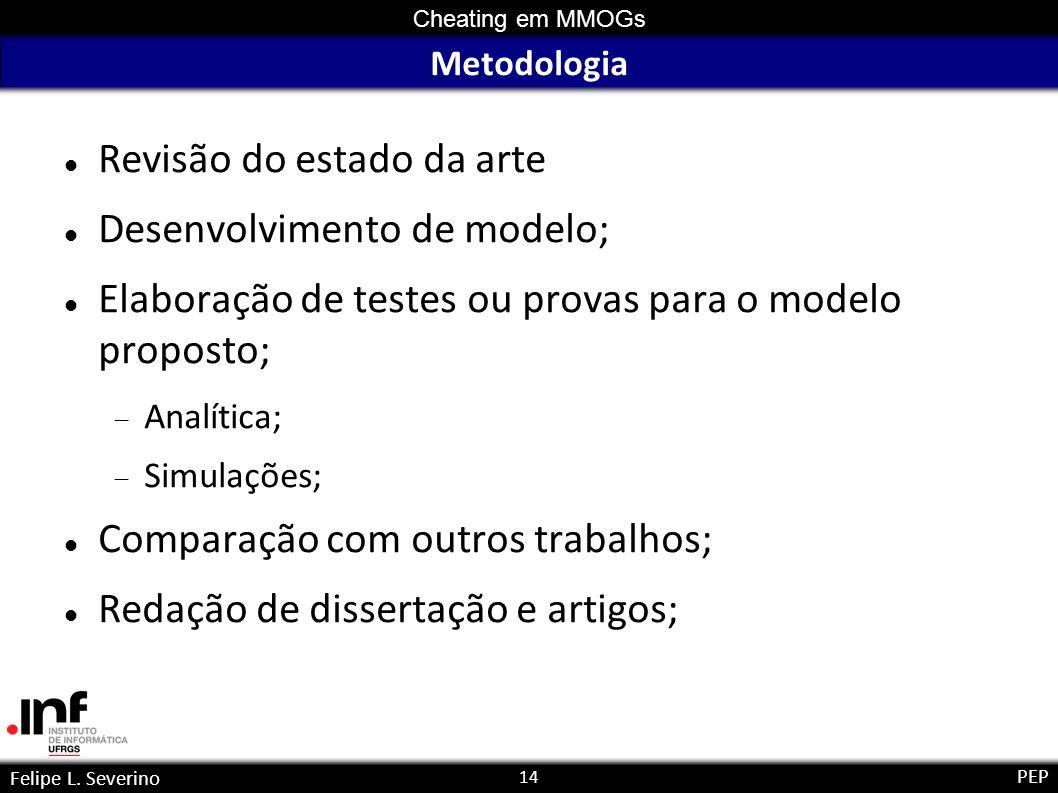 14 Cheating em MMOGs Felipe L. Severino PEP Metodologia Revisão do estado da arte Desenvolvimento de modelo; Elaboração de testes ou provas para o mod