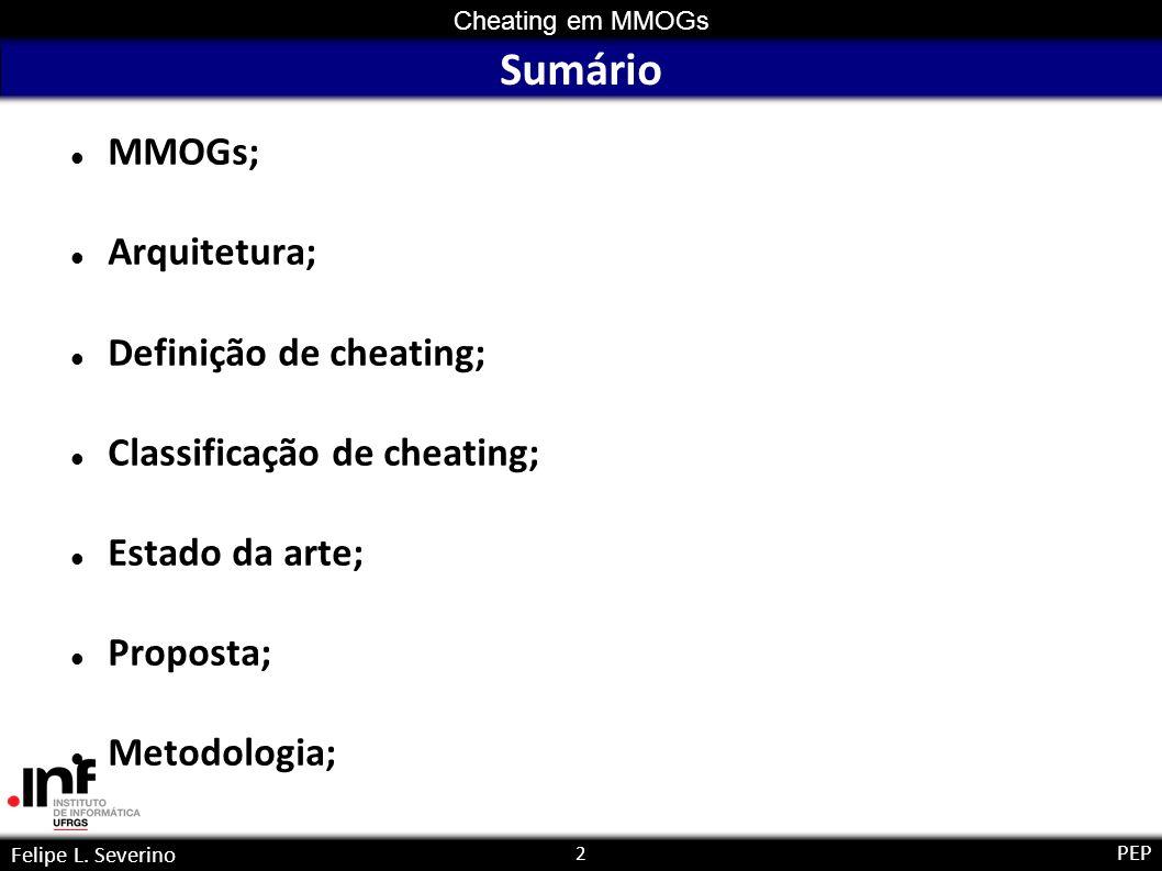 2 Cheating em MMOGs Felipe L. Severino PEP Sumário MMOGs; Arquitetura; Definição de cheating; Classificação de cheating; Estado da arte; Proposta; Met