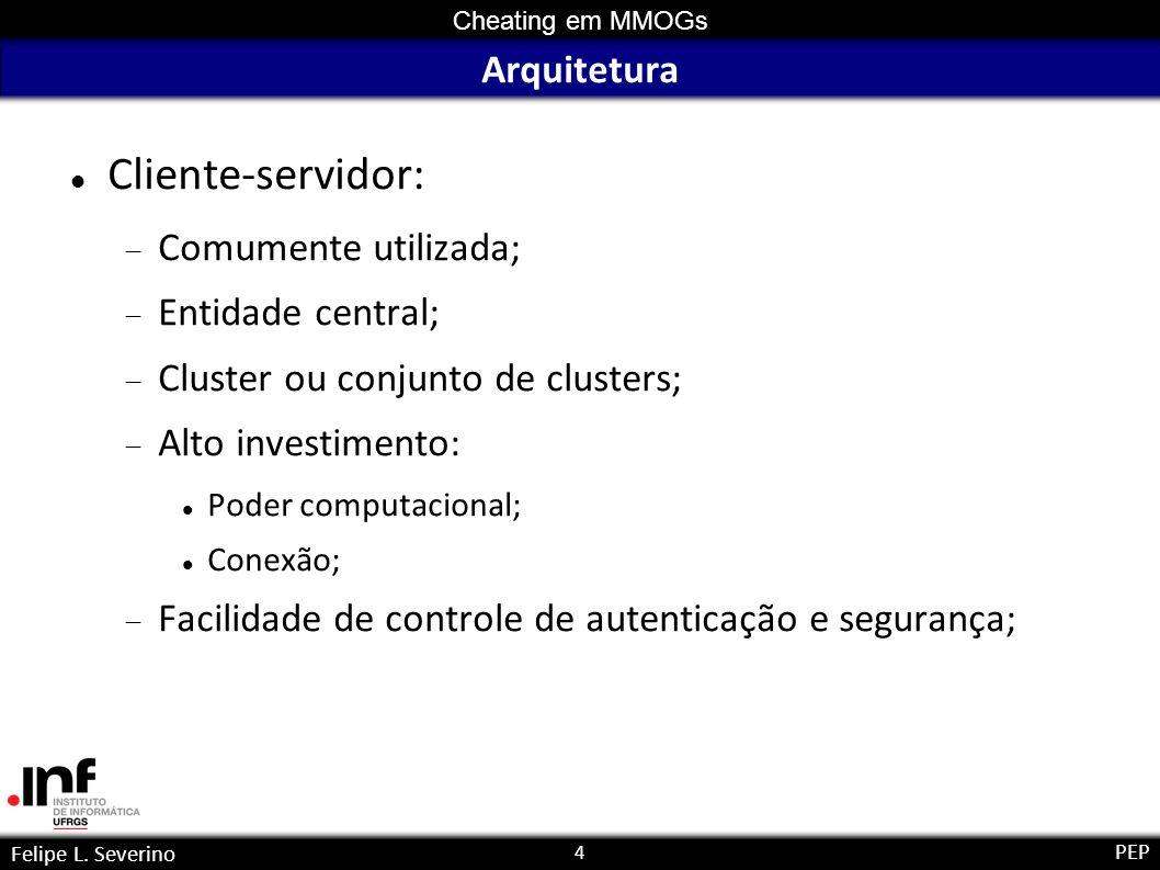 4 Cheating em MMOGs Felipe L. Severino PEP Arquitetura Cliente-servidor: Comumente utilizada; Entidade central; Cluster ou conjunto de clusters; Alto