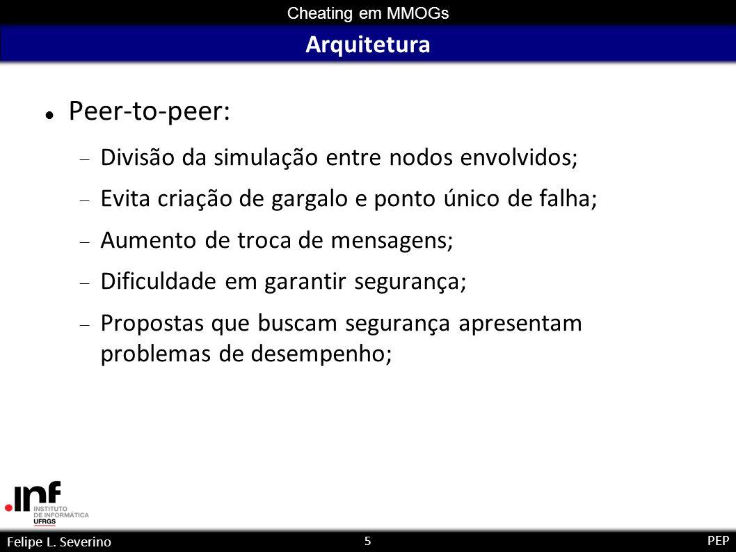 5 Cheating em MMOGs Felipe L. Severino PEP Arquitetura Peer-to-peer: Divisão da simulação entre nodos envolvidos; Evita criação de gargalo e ponto úni