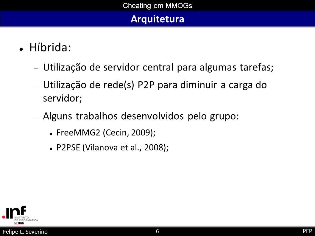 6 Cheating em MMOGs Felipe L. Severino PEP Arquitetura Híbrida: Utilização de servidor central para algumas tarefas; Utilização de rede(s) P2P para di
