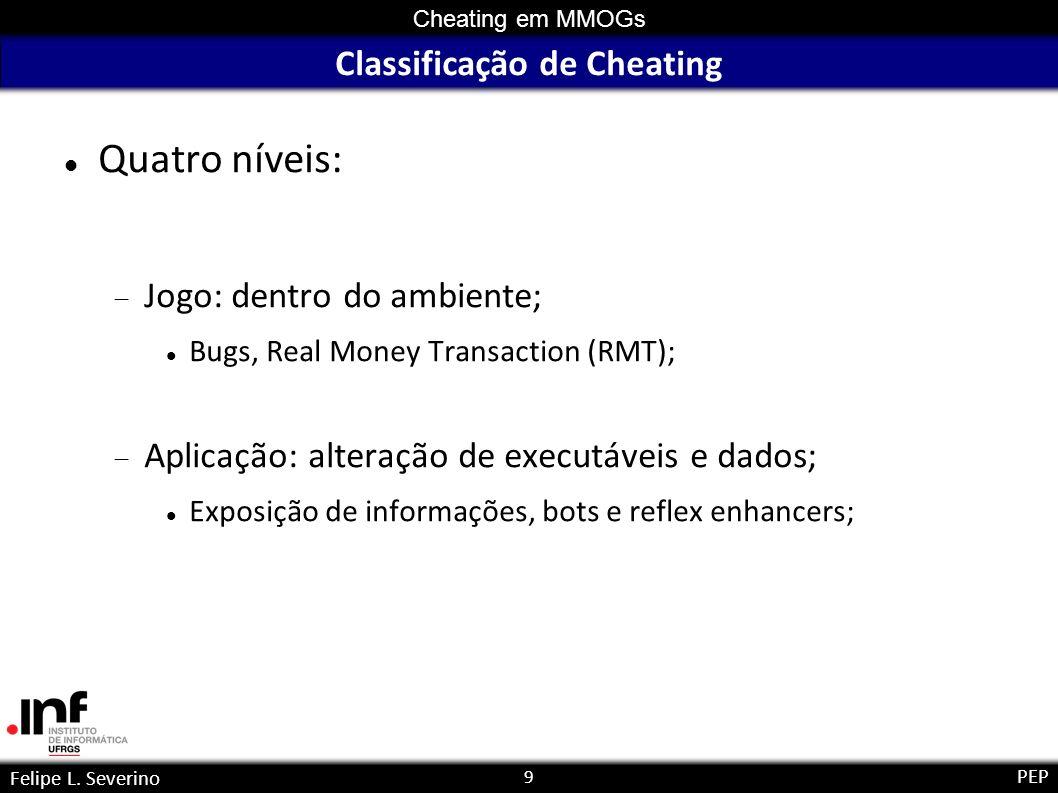 9 Cheating em MMOGs Felipe L. Severino PEP Classificação de Cheating Quatro níveis: Jogo: dentro do ambiente; Bugs, Real Money Transaction (RMT); Apli