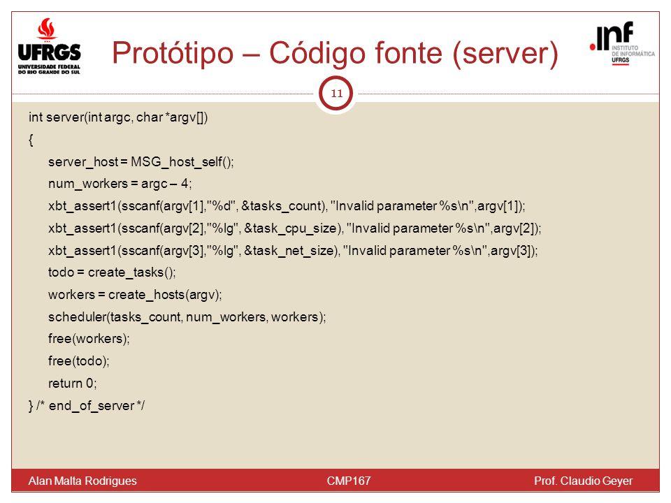Protótipo – Código fonte (server) 11 Alan Malta Rodrigues CMP167 Prof. Claudio Geyer int server(int argc, char *argv[]) { server_host = MSG_host_self(