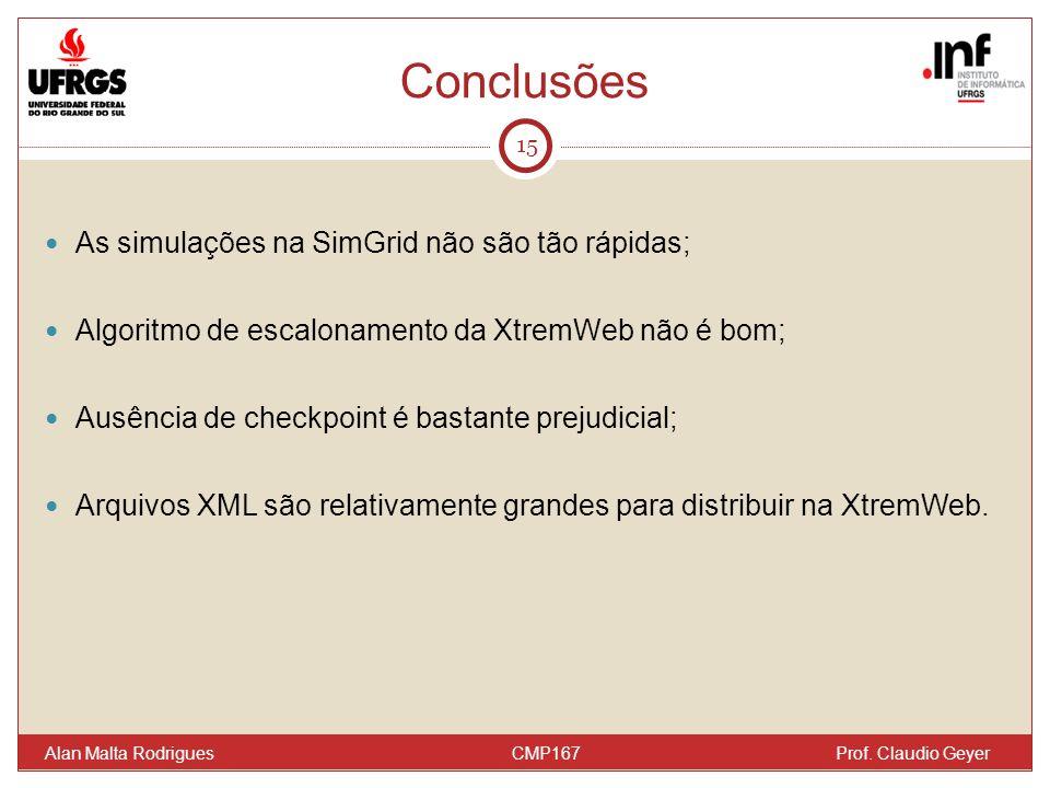 Conclusões 15 As simulações na SimGrid não são tão rápidas; Algoritmo de escalonamento da XtremWeb não é bom; Ausência de checkpoint é bastante prejudicial; Arquivos XML são relativamente grandes para distribuir na XtremWeb.