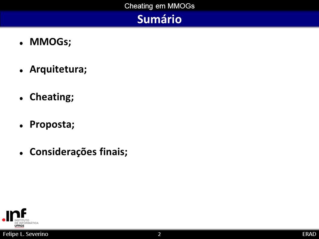 2 Cheating em MMOGs Felipe L. SeverinoERAD Sumário MMOGs; Arquitetura; Cheating; Proposta; Considerações finais;