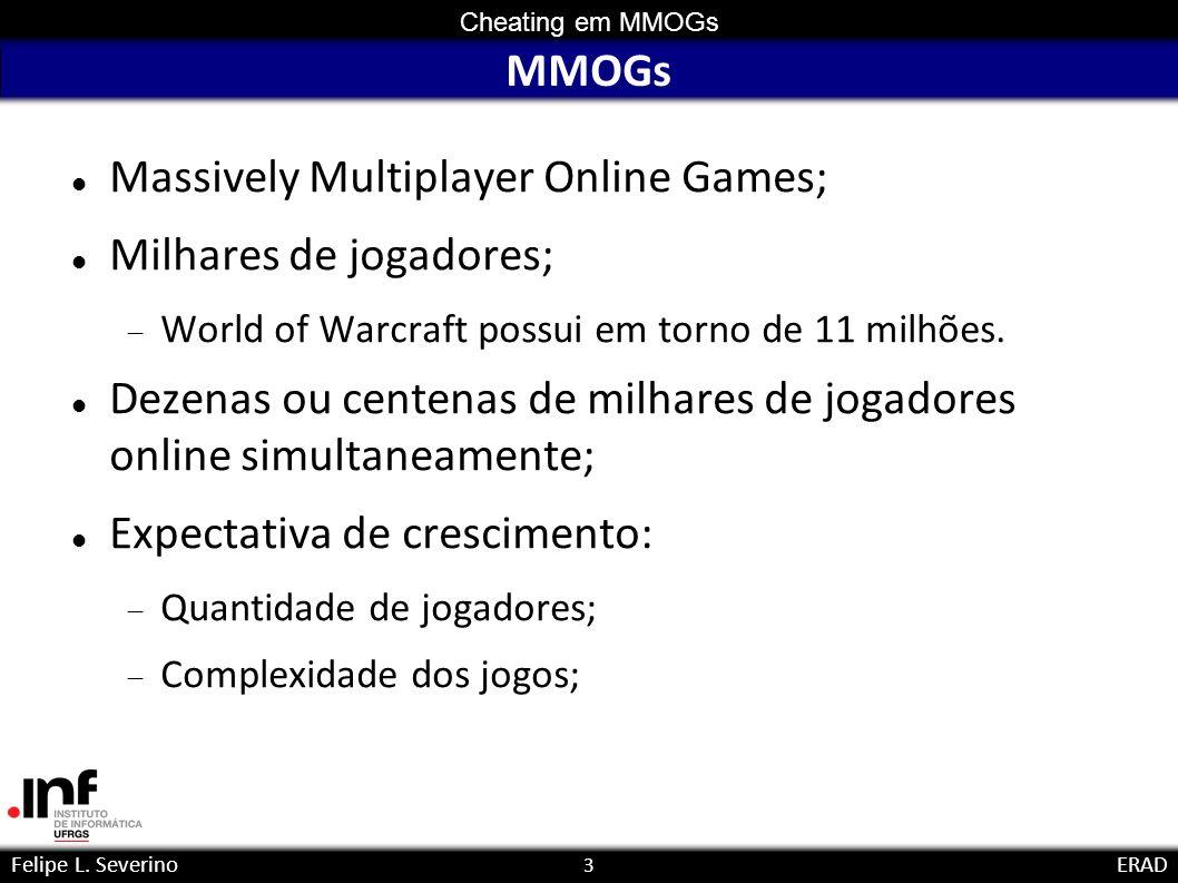 3 Cheating em MMOGs Felipe L. SeverinoERAD MMOGs Massively Multiplayer Online Games; Milhares de jogadores; World of Warcraft possui em torno de 11 mi