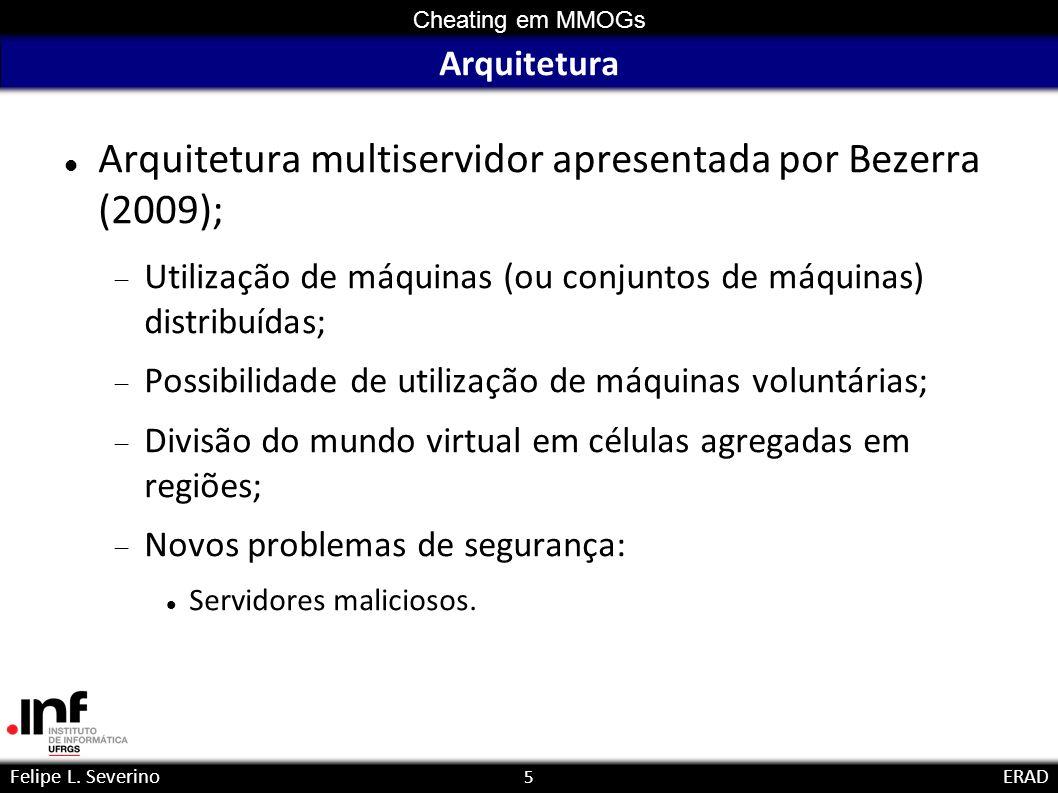 5 Cheating em MMOGs Felipe L. SeverinoERAD Arquitetura Arquitetura multiservidor apresentada por Bezerra (2009); Utilização de máquinas (ou conjuntos