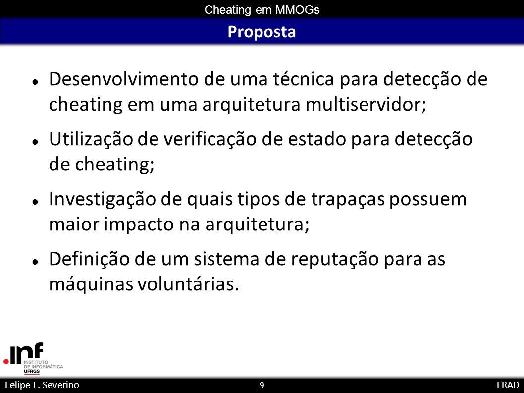 9 Cheating em MMOGs Felipe L. SeverinoERAD Proposta Desenvolvimento de uma técnica para detecção de cheating em uma arquitetura multiservidor; Utiliza