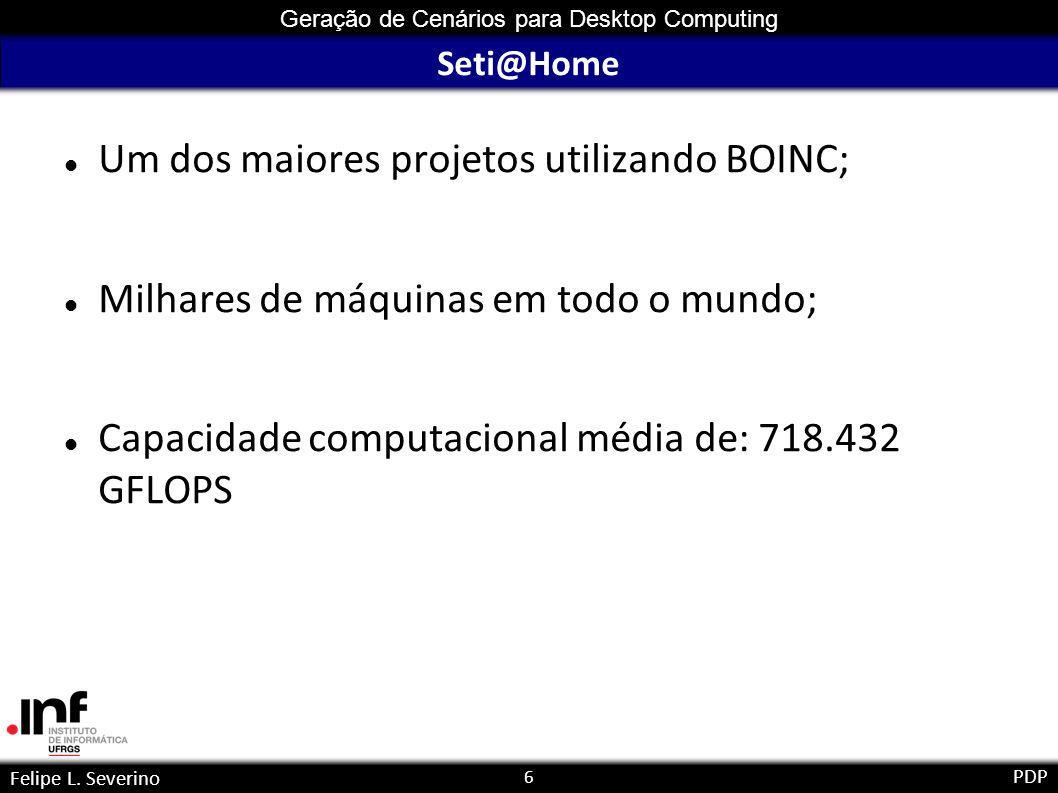 17 Geração de Cenários para Desktop Computing Felipe L. Severino PDP Disponibilidade