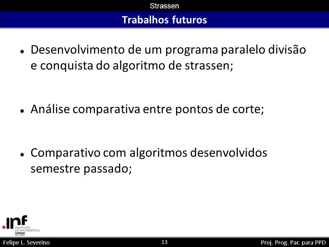 13 Strassen Felipe L. SeverinoProj. Prog. Par. para PPD Trabalhos futuros Desenvolvimento de um programa paralelo divisão e conquista do algoritmo de